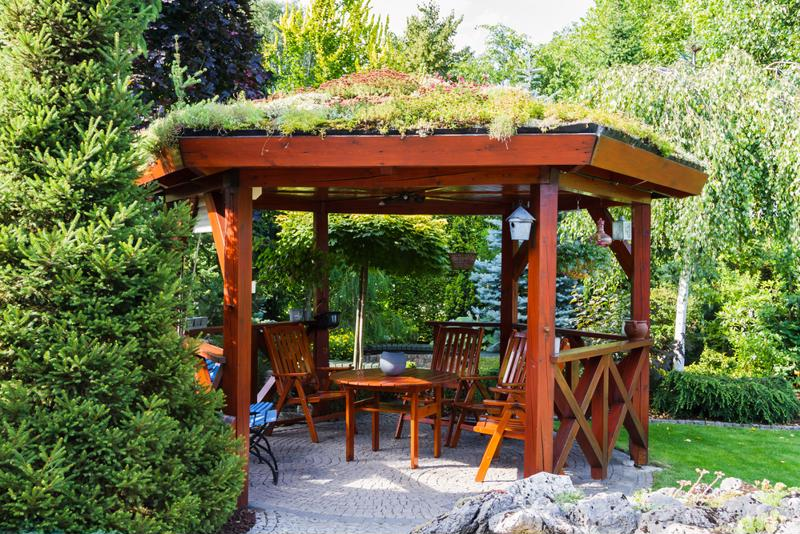 Wooden gazebos work great for any backyard get-togethers.