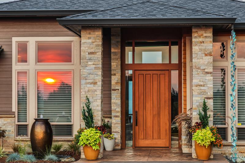 A bold front door can make a major difference on the front porch.