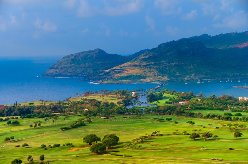 Nothing beats an aerial view of the stunning golf courses in Kauai.