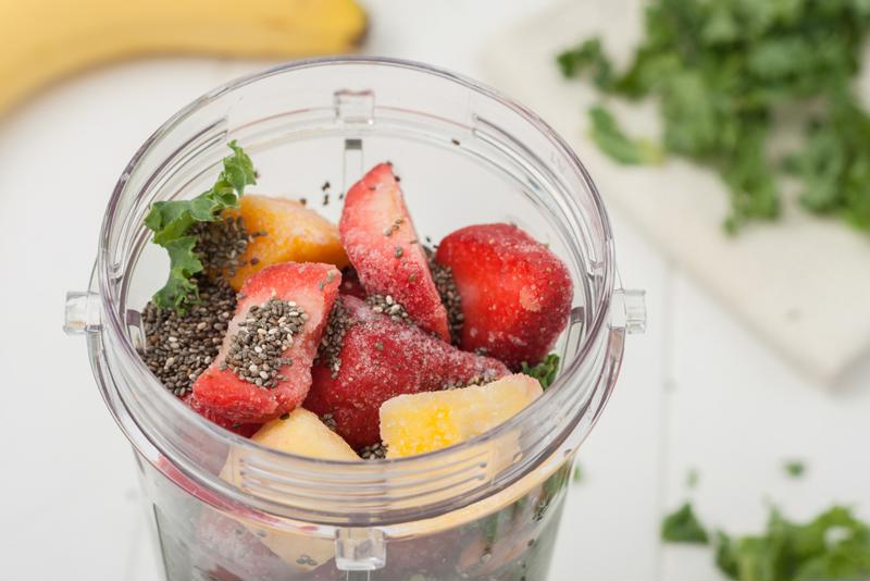 Your smoothie should look a little like this just before sealing and freezing.