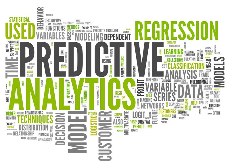 A predictive analytics word cloud.