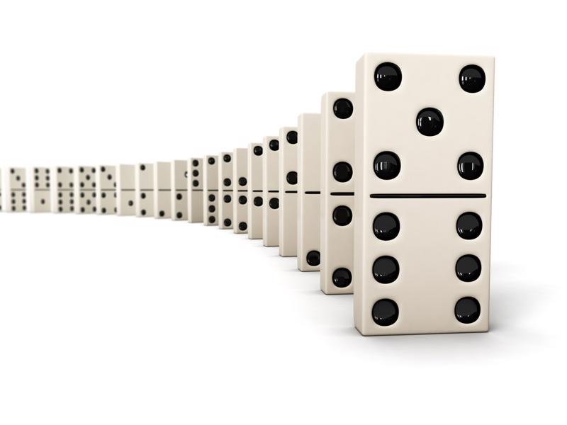 Line of dominoes.