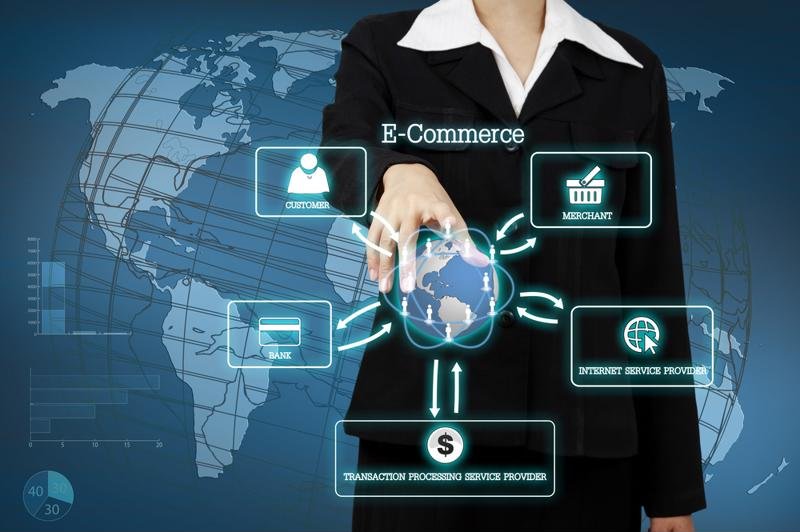Business woman looking at a digital overlay of the global, showing an e-commerce supply chain.
