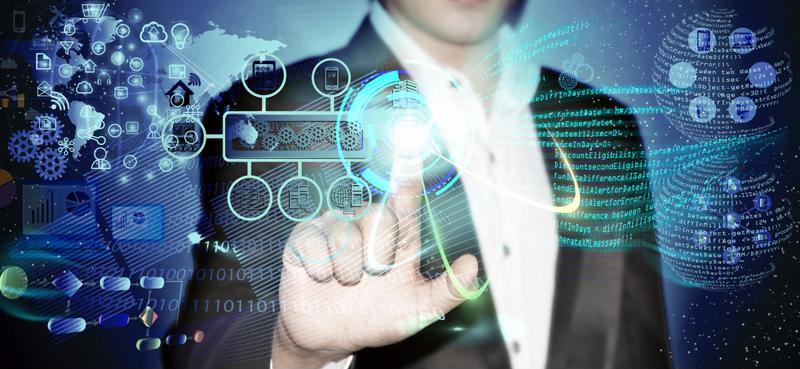 Man in suit using touch screen featuring software development abstract image.