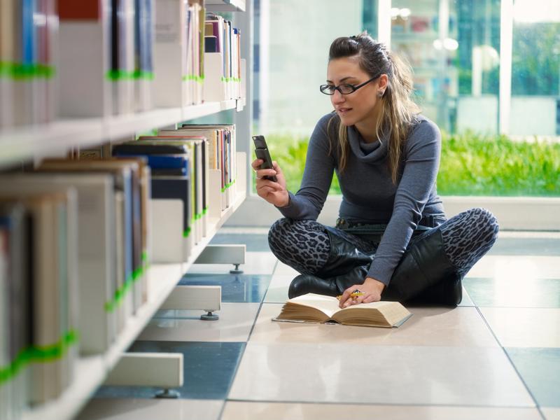 Student on phone.