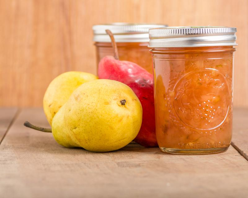 Yellow gold and slightly red pears are perfect for slow cooking pear butter.