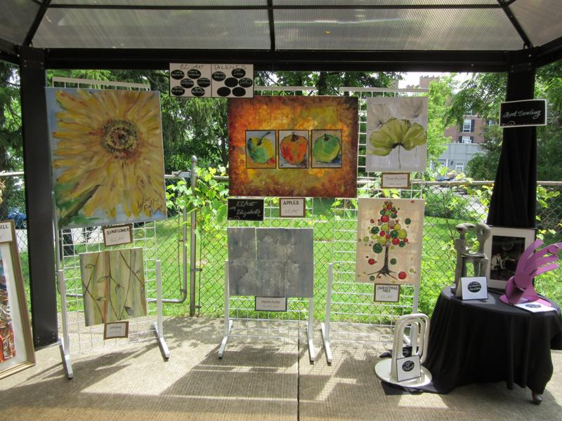 Artwork was displayed all along the patio.