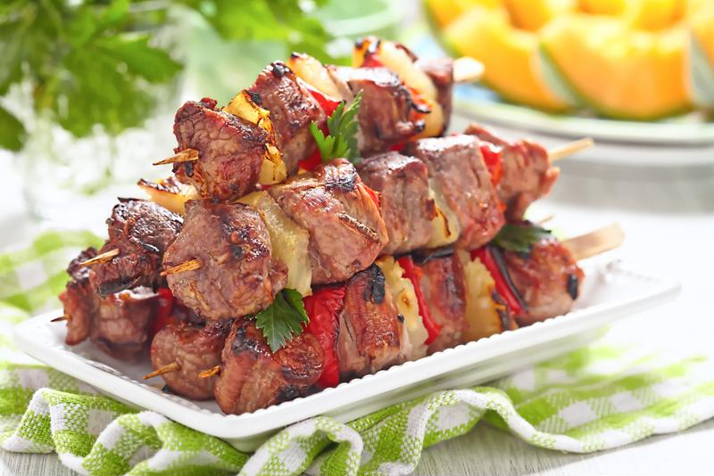 This recipe is a perfect match for steak kebabs with pineapple.