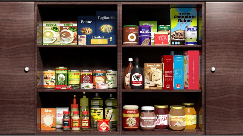 Split your pantry into several different categories for easy searching.