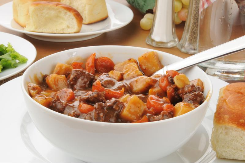 Choose from a number of delicious dishes, like rustic beef stew.