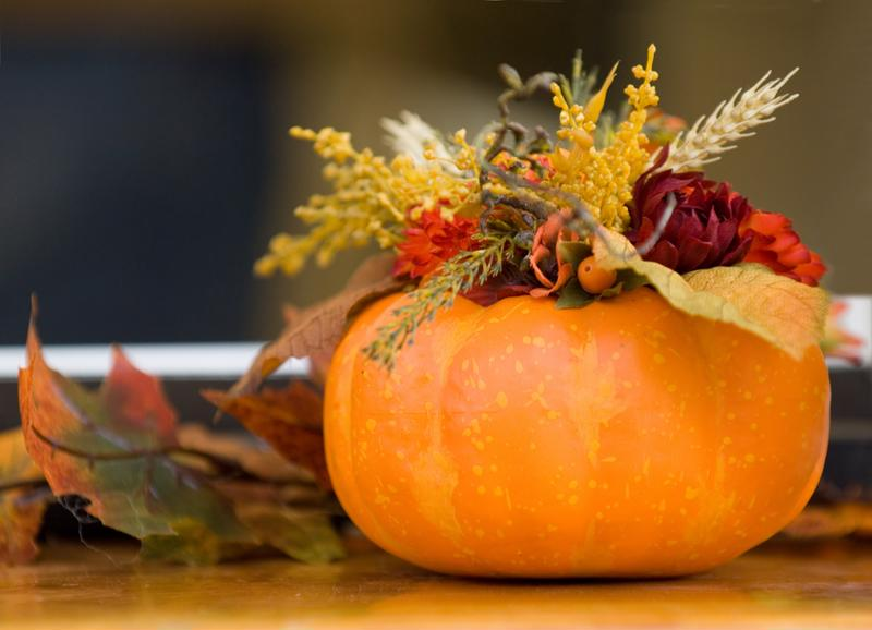 seasonal floral arrangement, pumpkin, flowers, thank you