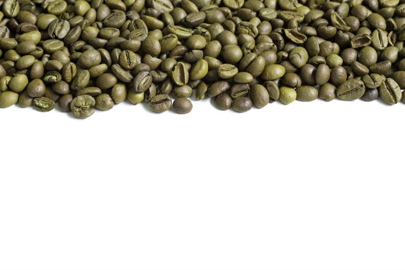 Caffeine is removed from green coffee beans.