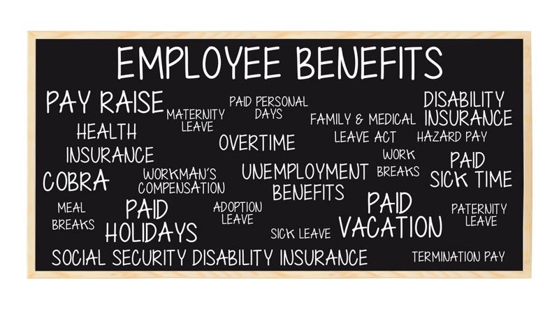 "Chalkboard with the words ""EMPLOYEE BENEFITS"" across the top with things like ""paid vacation,"" ""adoption leave,"" and ""overtime"" written underneath."