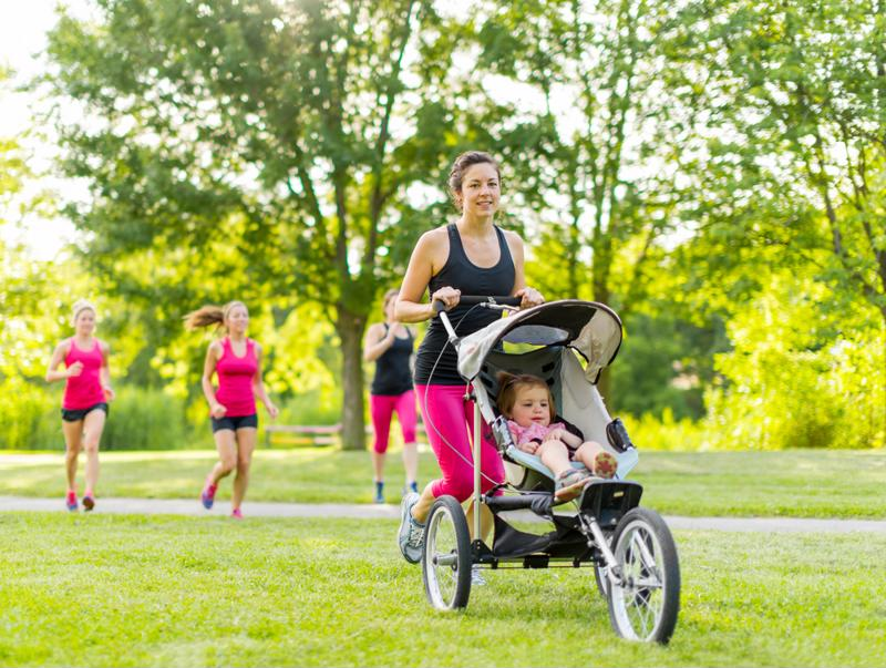 A stroller with lots of storage space is an essential baby registry item.