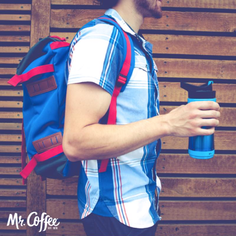 The warmth travels with you, in the Mr. Coffee® Pour! Brew! Go!  personal mug.