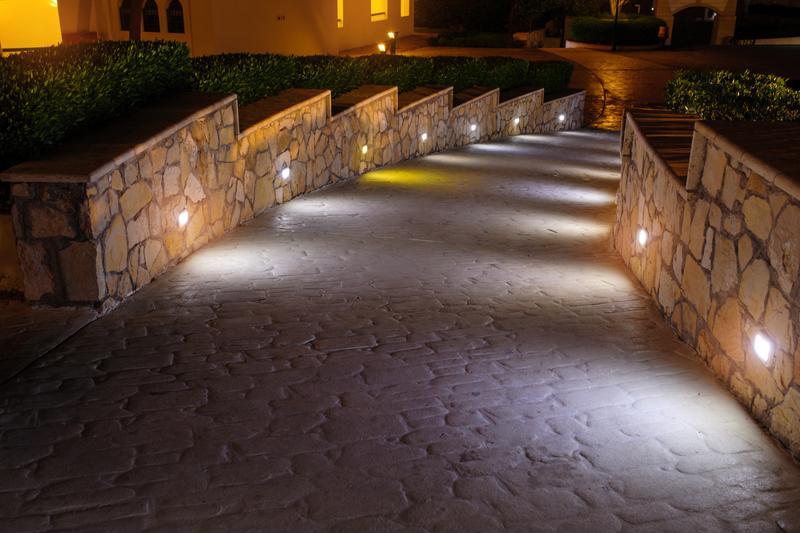 lighted path, lit path, retaining walls, stone pathway, custom pavers