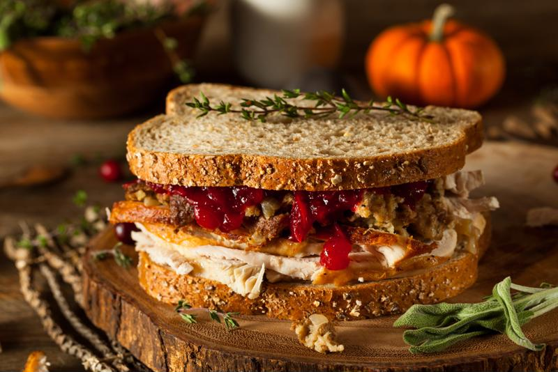 Spice up the pulled turkey sandwich with sliced apples and barbecue sauce.