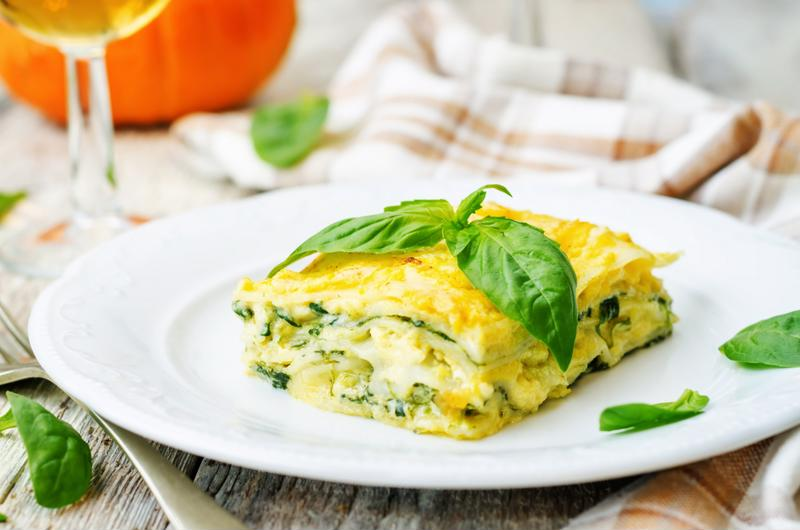 Spinach and ricotta make for a delicious lasagna combination.