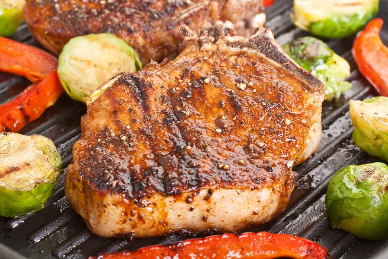 Marinated pork chops are extra succulent.