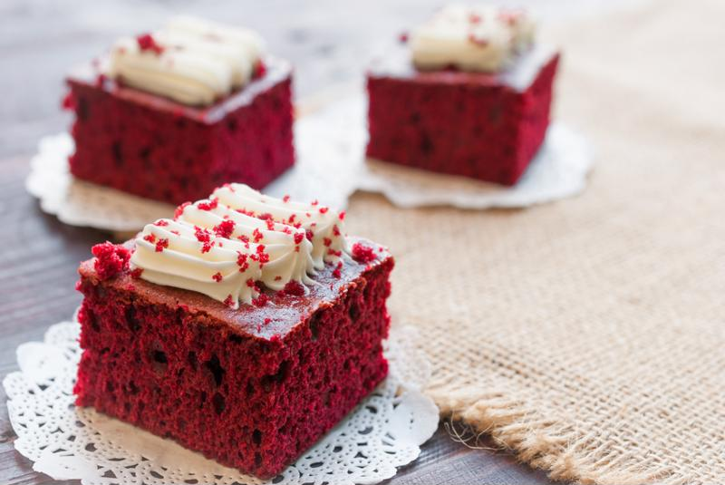 Decadent red velvet cake is sure to be a big hit with Mr. Claus this year.
