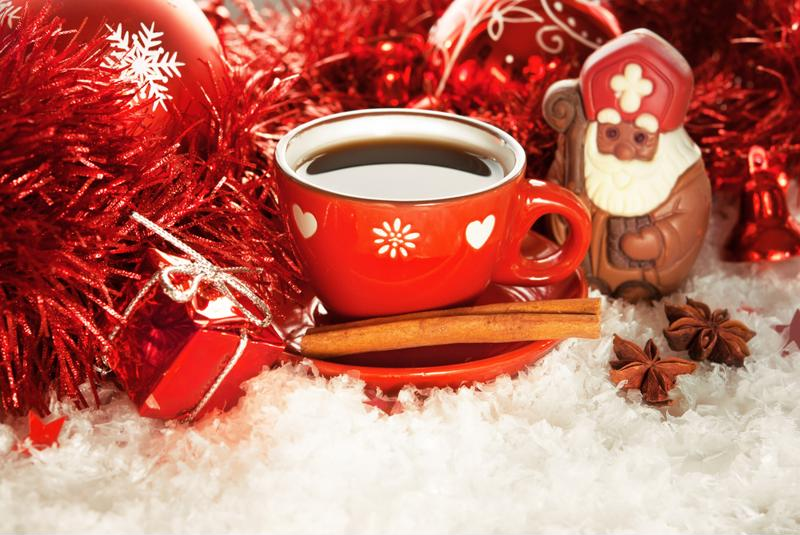 Open your presents while drinking a nice cup of coffee.