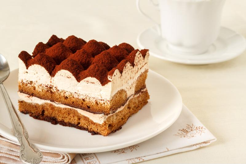 A small piece of tiramisu is laden with calories.