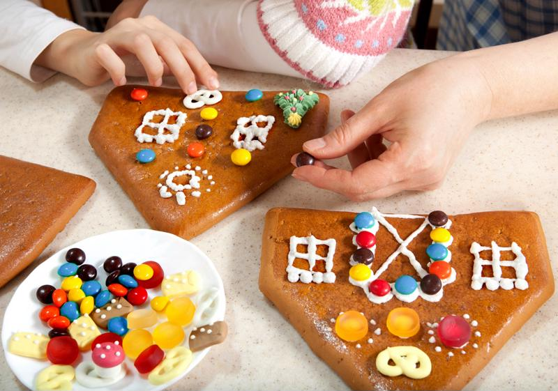 Add chocolate covered espresso beans to your gingerbread house.