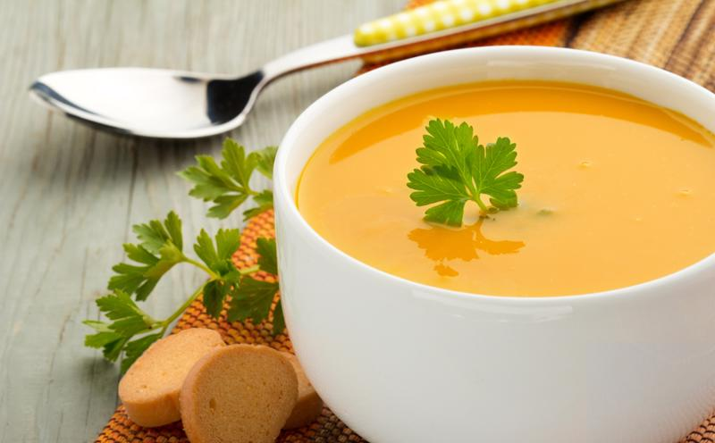 Coconut ginger-carrot soup gets even thicker and creamier when you add chia seeds.