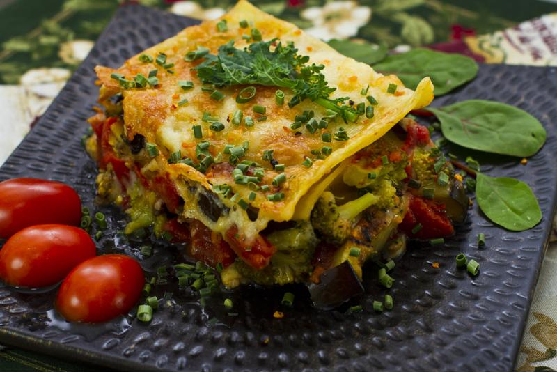 Pesto adds great flavor to vegetarian lasagna.