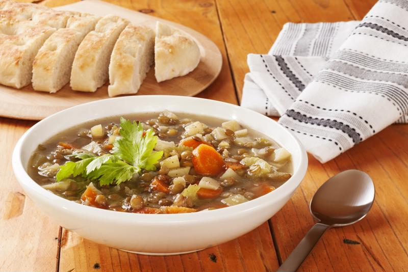 Bay leaf is a pleasantly aromatic addition to lentil soup.
