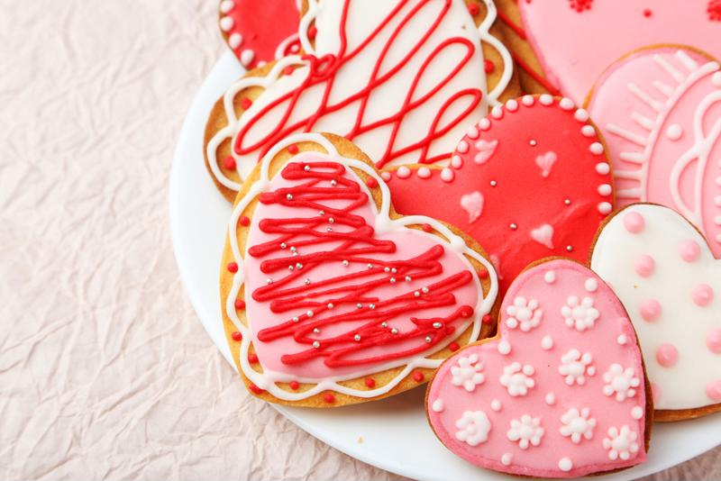 You can even use the homemade vanilla and red velvet frosting for heart-shaped cookies.