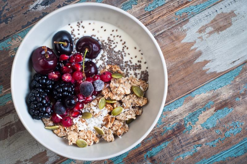 Overnight oatmeal with chia seeds a selection of fruit and nut toppings makes for an easy breakfast.