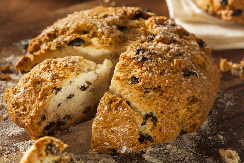 Raisins add a bit of moisture to the classic Irish soda bread.
