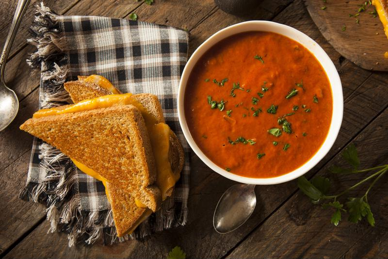 What's more comforting than grilled cheese and a bowl of soup?