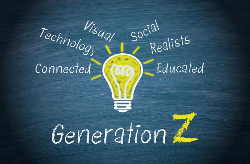 """Generation Z"" written on a chalkboard, with a lightbulb above it and the words ""visual, social, realists, technology, educated,"" etc."