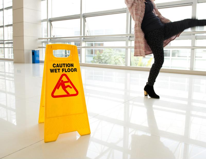 A wet floor can lead to a serious injury for both workers and customers in a retail space.