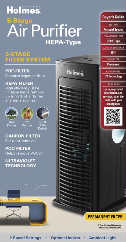 Boost your home's air quality with a Holmes  Mini Tower Air Purifier.