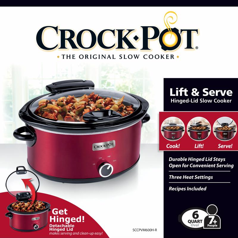 The Crock-Pot  Lift & Serve Hinged Lid 6-Quart Oval Slow Cooker makes entertaining a breeze!