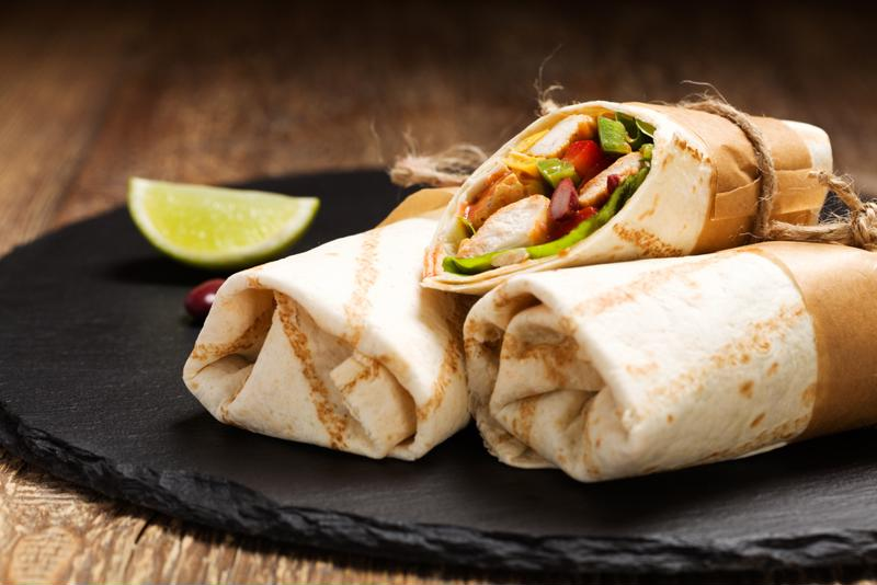 Chefs can customize burritos with a wide variety of fillings.
