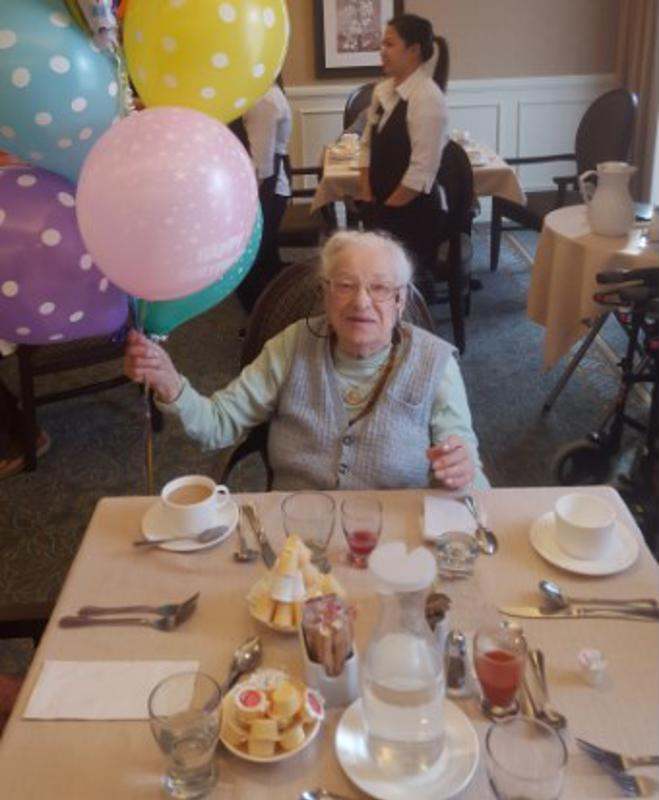 Friends, family and staff of Chartwell Wynfield gathered together for Maria's 107th birthday celebration.
