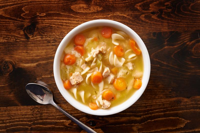 Warm up on a rainy night with a bowl of chicken noodle soup.