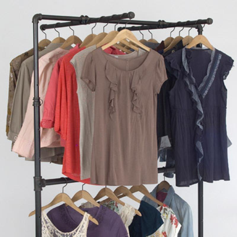 Clothing displayed on racks.