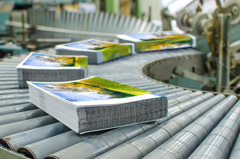 Mail marketing materials are processed in a facility.