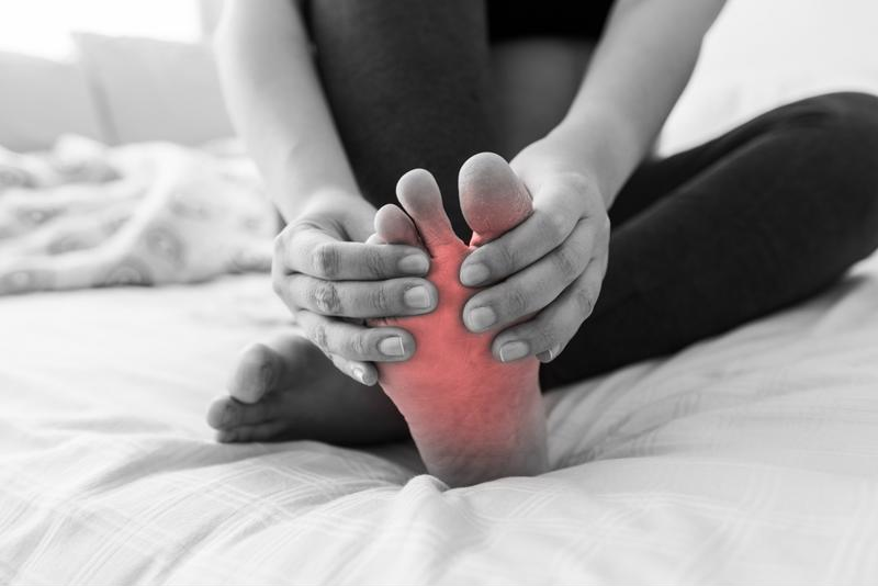 Gout patients will usually first experience pain in and around their big toe.