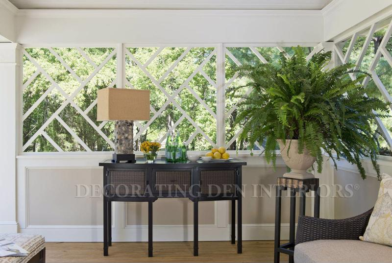 A tabletop plant or two is enough to emphasize the natural lighting without distracting from the window view.