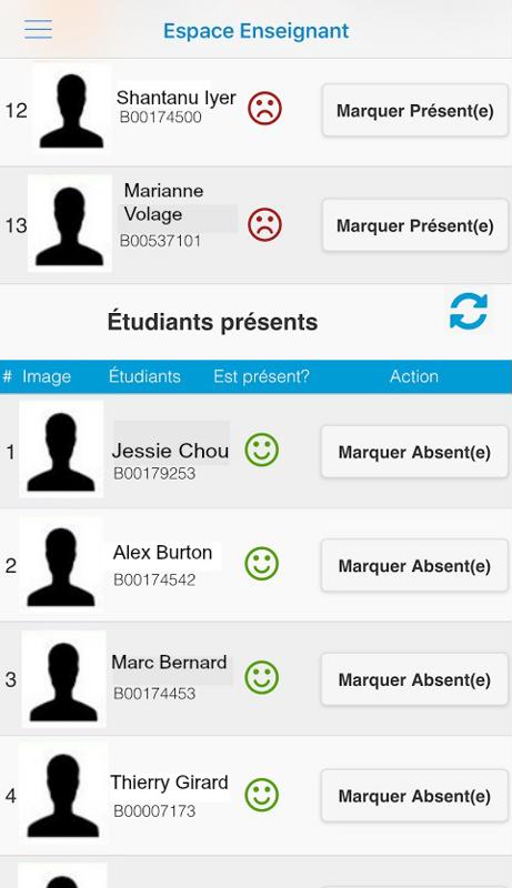 Voici l'interface que le corps professoral verra sur l'application mobile pendant un cours.