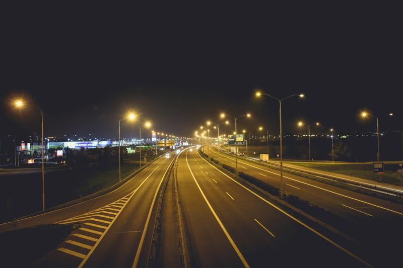 Highway at night.