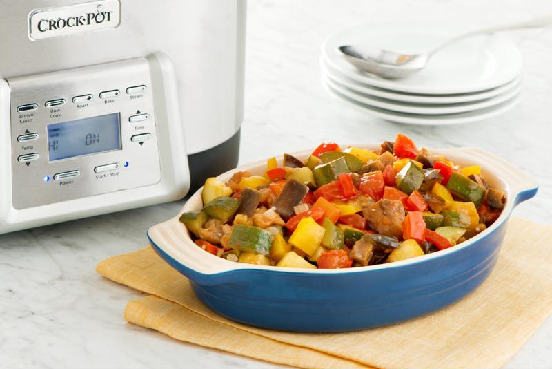 Chickpea ratatouille makes for a hearty and healthy dinner.