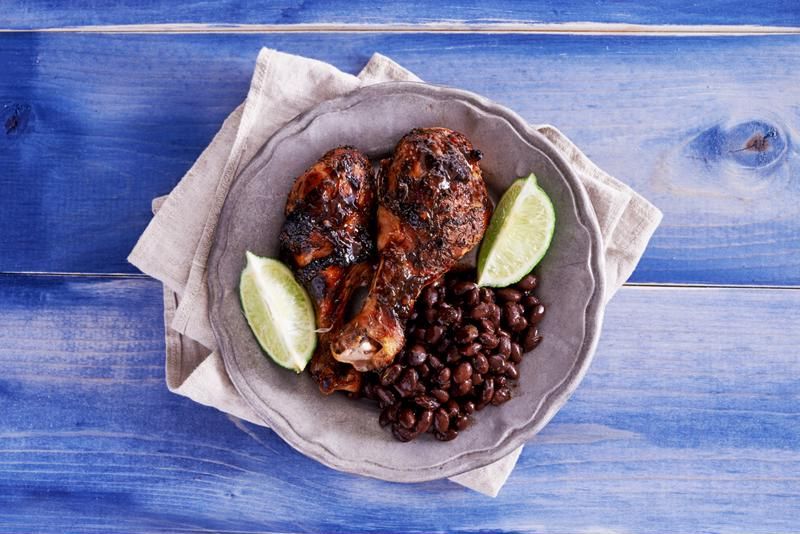 Jerk chicken is served best with beans or rice.