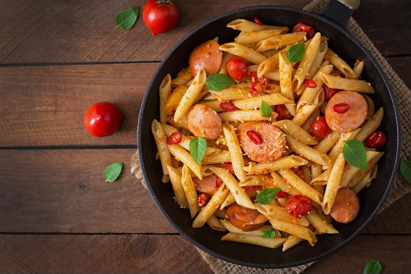 Italian sausage and pasta is a hearty and delicious meal.